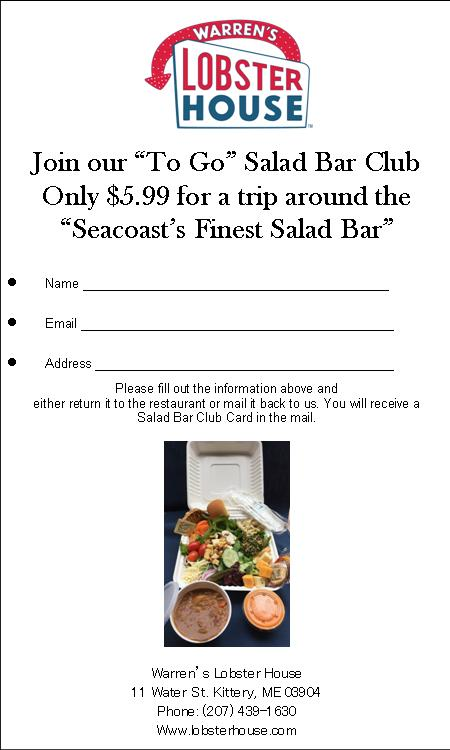 Please Fill Out The Lication Below To Join Salad Bar Club Warren S Lobster House