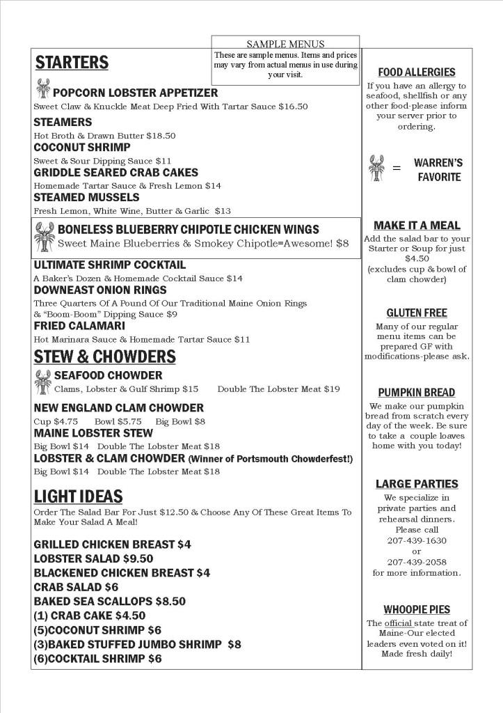 menu dinner may 2015