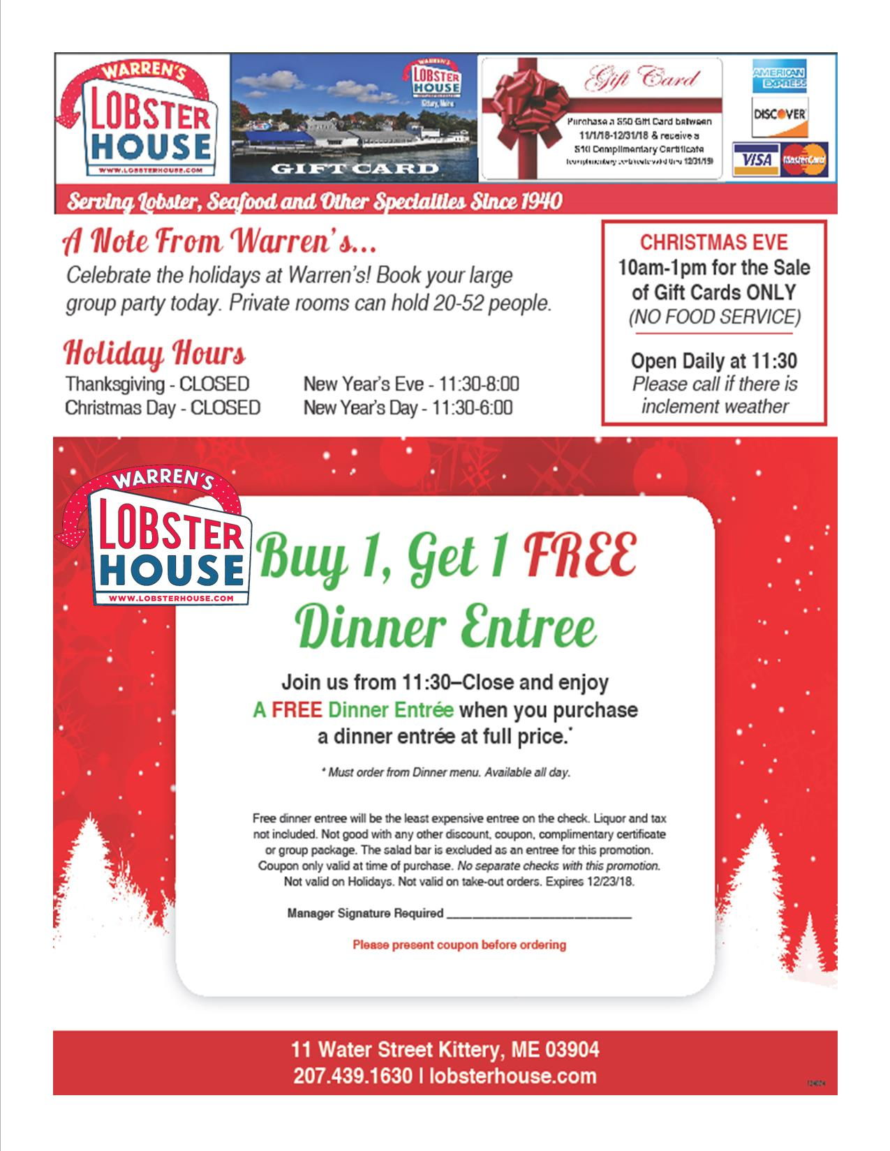 Coupons & Promotions | Warren\'s Lobster House